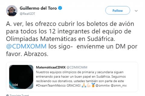 Del Toro ofrece pagar avión a niños para Olimpiada de Matemáticas