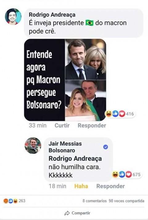 Bolsonaro pica a Macron al burlarse de su esposa