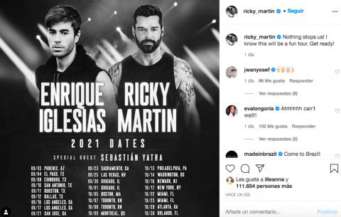 Aplazan un año gira de Ricky Martin y Enrique Iglesias
