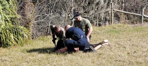Hombre desnudo roba patrulla y... se estrella contra árbol