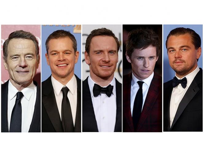 En la categoría de Mejor Actor compiten Bryan Cranston, Matt Damon, Michael Fassbender, Eddie Redmayne y Leonardo DiCaprio. (Reuters)