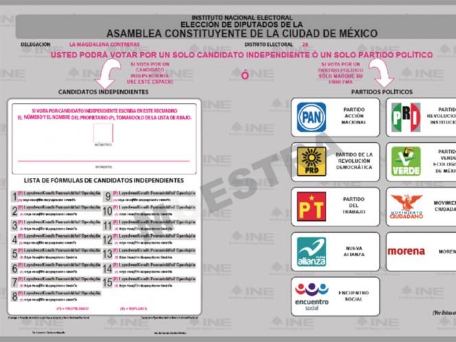 El modelo de la boleta electoral publicada por el INE dependerá del número de candidatos independientes.