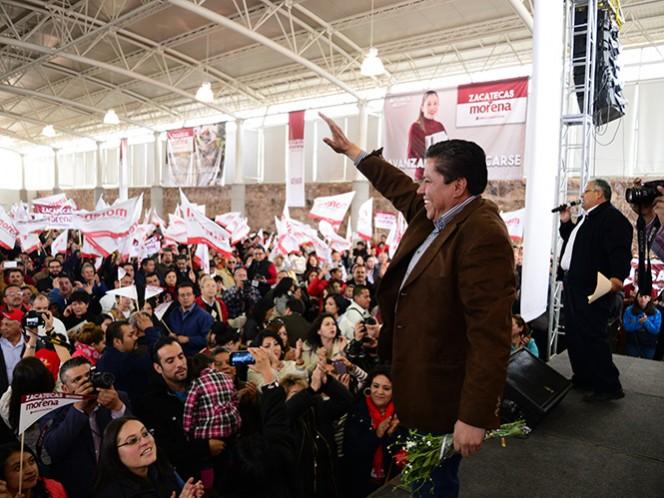 David Monreal, cuando fue avalado el 7 de febrero, por parte de la asamblea estatal de delegados de Morena, como su candidato a la gubernatura