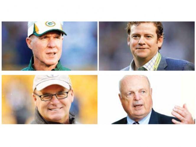 Ted Thompson, gerente general de GB desde 2005 (arriba, izquierda). John Schneider, gerente general de Seattle desde 2010 (arriba, derecha). Kevin Colbert, gerente general de Pittsburgh desde 2005 (abajo, izquierda). Mike Brown (abajo, derecha)