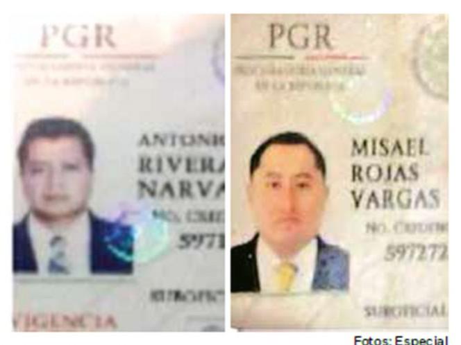 Antonio Javier Rivera se acreditó como suboficial de la PGR y Misael Rojas Vargas como agente federal ministerial.