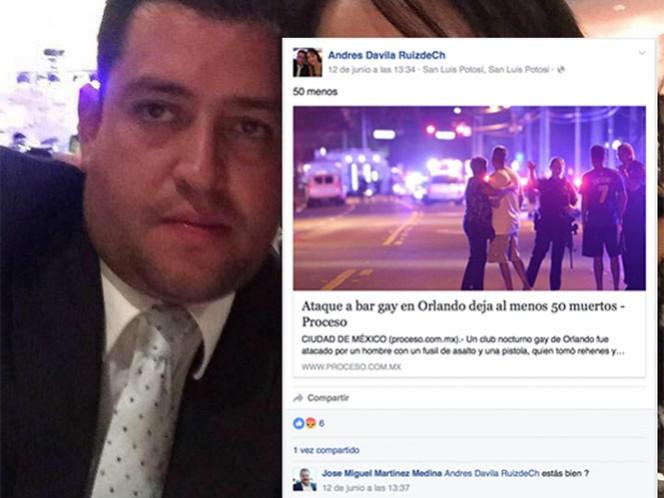 """Andrés Dávila trabajaba en la SCT en el estado por sus comentarios respecto al ataque en Orlando; posteó """"cincuenta menos"""""""