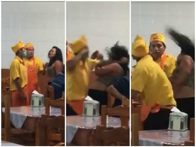 Empleado golpea a una mujer en taquería de Querétaro