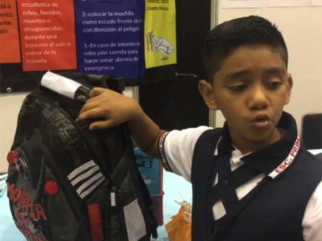 Niño de 11 años diseña mochila antibalas ante violencia en Tamaulipas