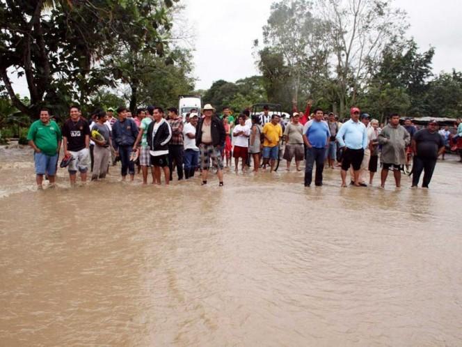 Inundaciones en Teapa, Tabasco, provocadas por las fuertes lluvias de las semanas pasadas.