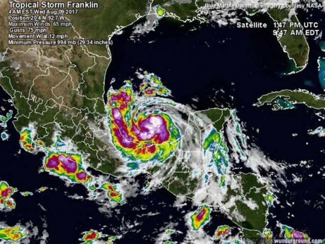 Franklin tocará suelo mexicano convertido en huracán