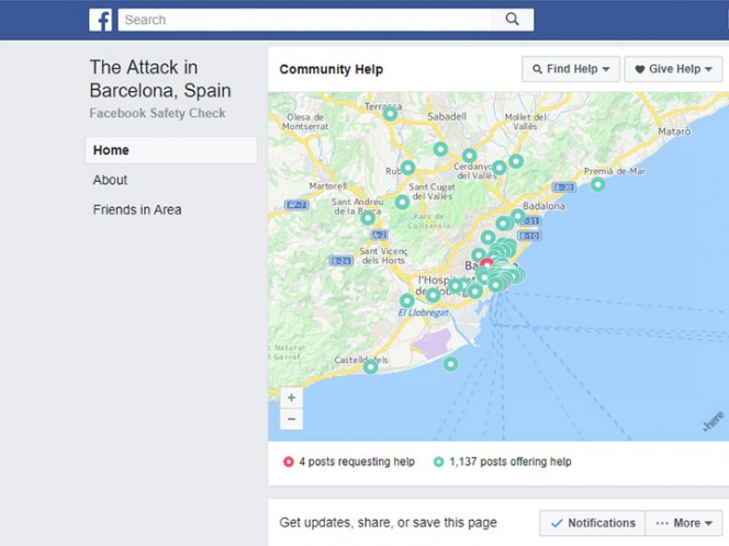 Facebook activa 'Security Check' por atentado en Barcelona