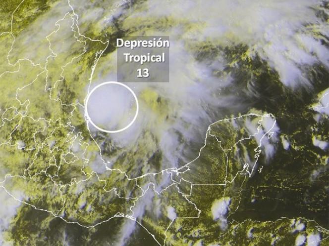 Vista de la depresión tropical 13 en el Golfo de México