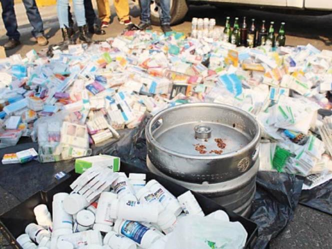 Decomisan 110 kilos de medicamentos en El Salado