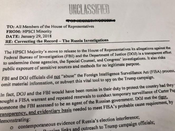 Reivindican al FBI en el memorando demócrata