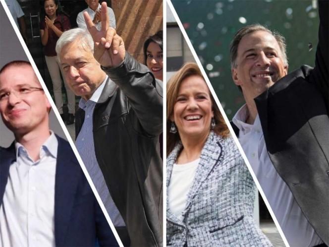 De izq. a der.: Ricardo Anaya, Andrés Manuel López Obrador, Margarita Zavala y José Antonio Meade.