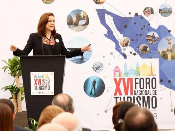 La candidata a la presidencia, MArgarita Zavala, durante el Foro Nacional de Turismo.
