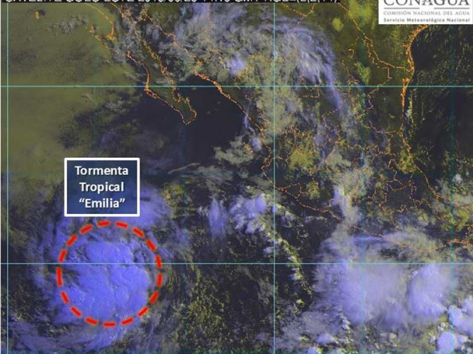 Se intensifica tormenta tropical 'Emilia'; se encuentra cerca de BCS