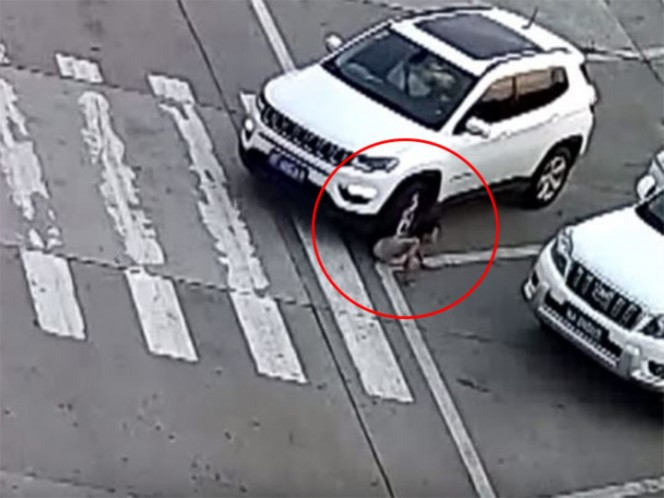 Niña se agacha y un auto le pasa por encima