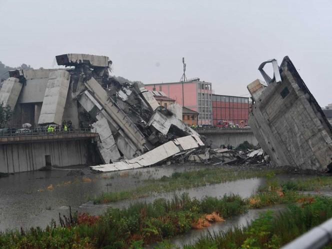 Revelan video de la caída del puente en Génova