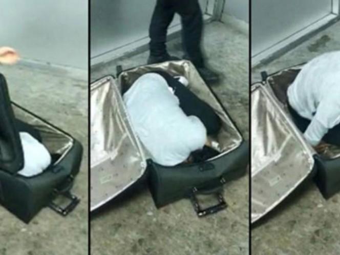 Detienen a mujer al intentar cruzar la frontera escondida en una maleta