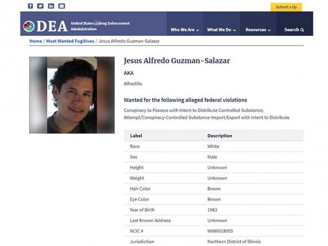 'Alfredillo' Guzmán Salazar entre los 10 más buscados por la DEA