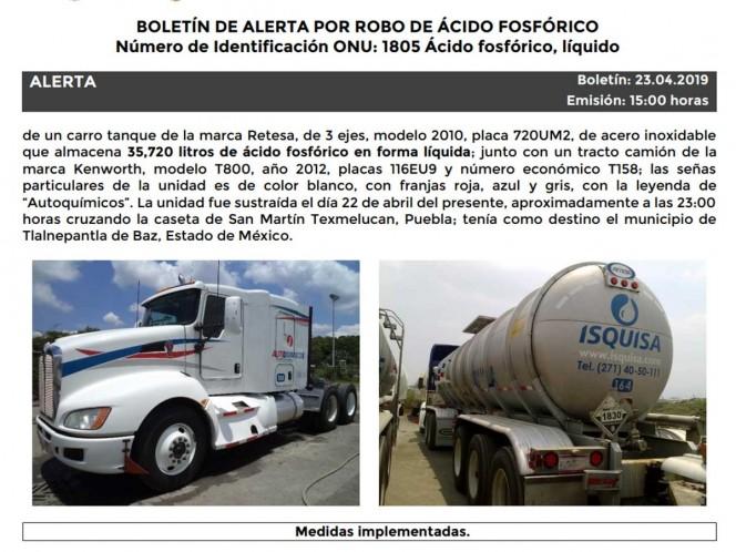 """El carro tanque robado tiene impresa la leyenda """"Autoquímicos"""", es de la marca Retesa, de 3 ejes, modelo 2010 y placas de circulación 720UM2. Foto: Especial"""