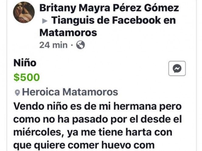 Mujer intenta vender a su sobrino en Facebook por 500 pesos