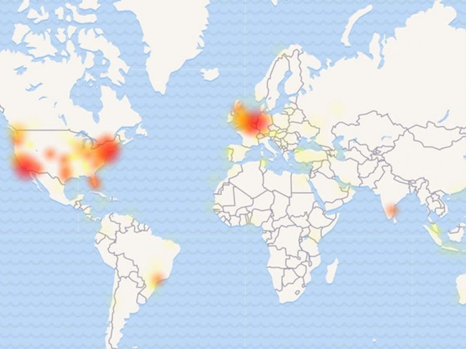 Mapa de los países donde Twitter presenta fallas
