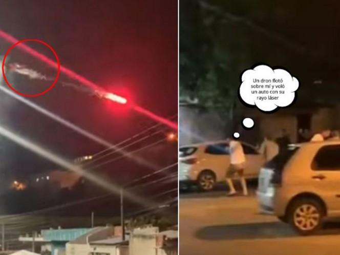 Sujeto harto de sus vecinos borrachos los ataca con dron y bengalas
