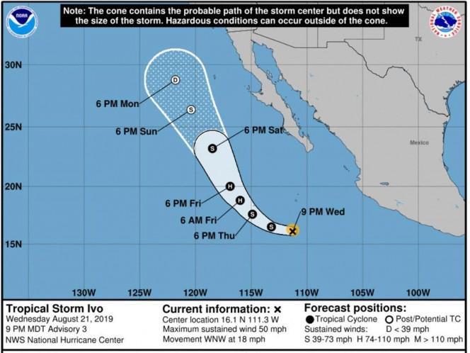 La Unidad Estatal de Protección Civil activó alerta azul para 12 municipios del sur de Sonora, ante el inminente azote de la tormenta tropical 'Ivo'. Foto: Especial