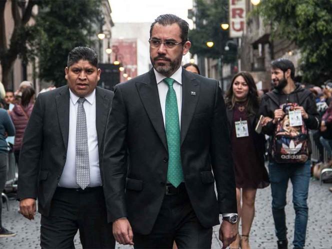 Jesús Orta fuera de la Secretaría de Seguridad de la CDMX