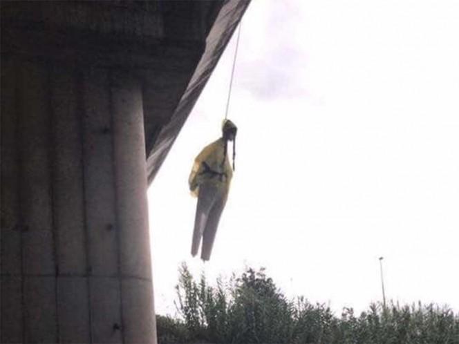 Aparece muñeco con el rostro de Greta Thunberg colgado en un puente