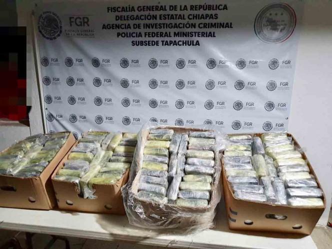 Aseguran 100 kilos de cocaína en Chiapas