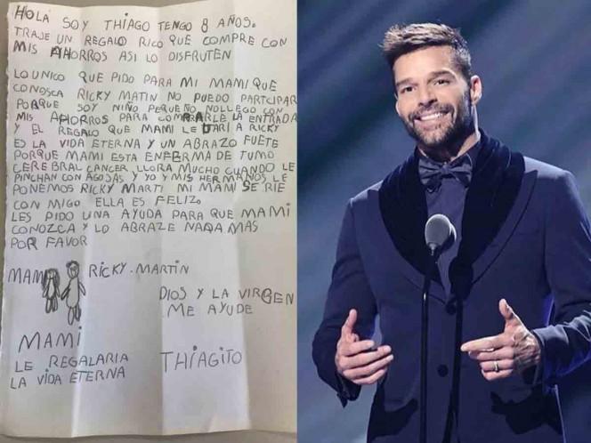 Niño pide en emotiva carta que su mamá enferma conozca a Ricky Martin