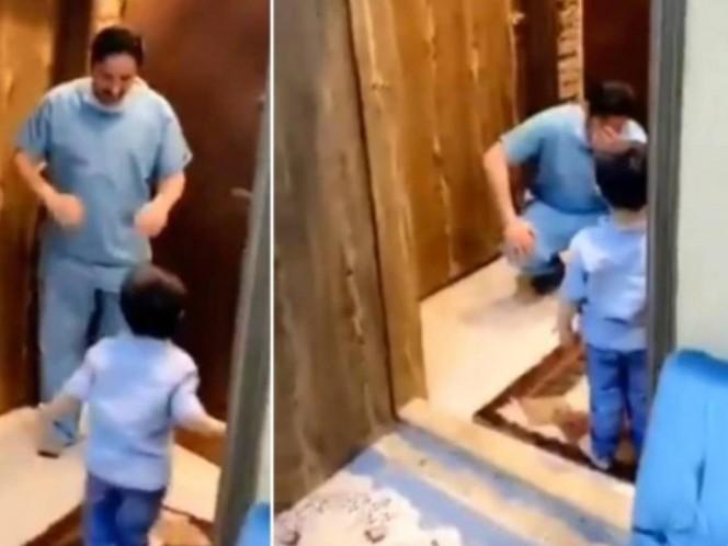 Médico rompe en llanto al rechazar abrazo de su hijo