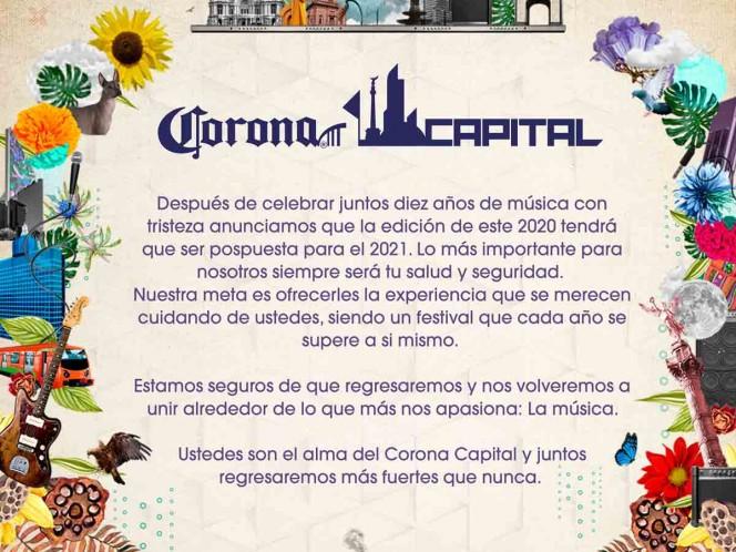 El Covid ataca de nuevo... Corona Capital pospuesto hasta 2021