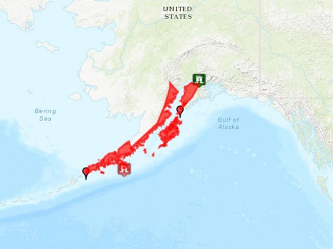 La oficina nacional de Administración Oceánica y Atmosférica puso en alerta de tsunami a toda la costa sur del estado así como la península de Alaska por el sismo de magnitud 7.4