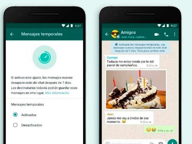 WhatsApp agrega función para desaparecer mensajes a los 7 días