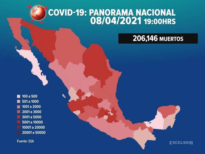 México supera las 206 mil muertes por covid-19