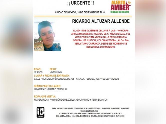 Alerta Amber: Ayuda a Ricardo Altuzar a volver a casa