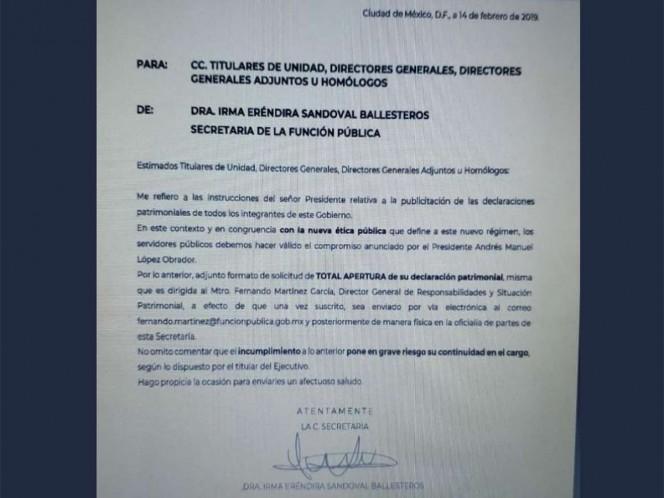 SFP recuerda a altos mandos apertura total de declaración patrimonial
