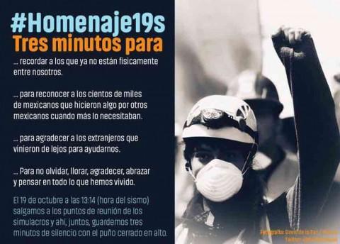 Convocan a #Homenaje19S en la CDMX a un mes del sismo