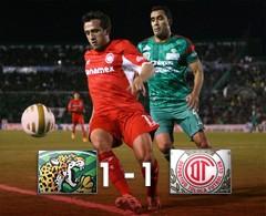 Impetuosos Jaguares rescatan empate ante Toluca